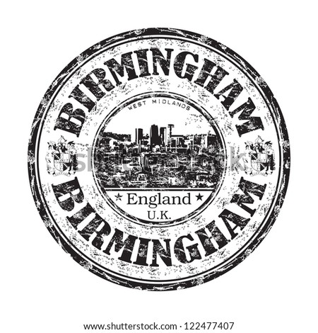 Black grunge rubber stamp with the name of Birmingham city from England written inside the stamp