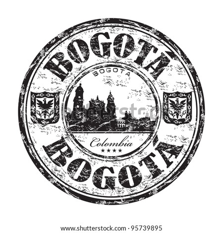 Black grunge rubber stamp with the name of Bogota, the capital of Colombia written inside the stamp