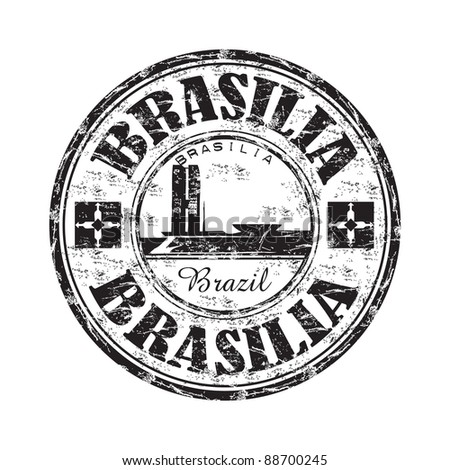 Black grunge rubber stamp with the name of Brasilia the capital of Brazil written inside the stamp - stock vector