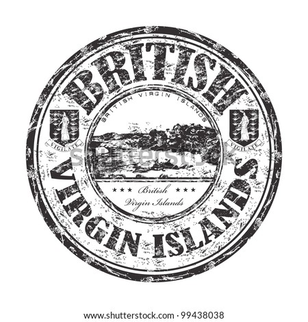 Black grunge rubber stamp with the name of British Virgin Islands written inside the stamp