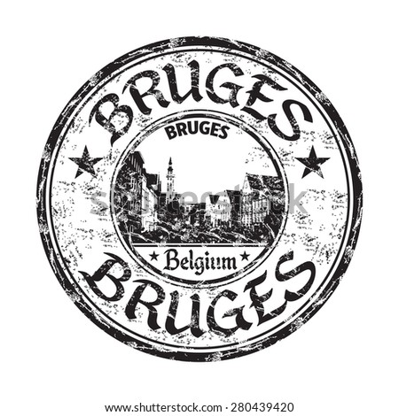 Black grunge rubber stamp with the name of Bruges city from Belgium