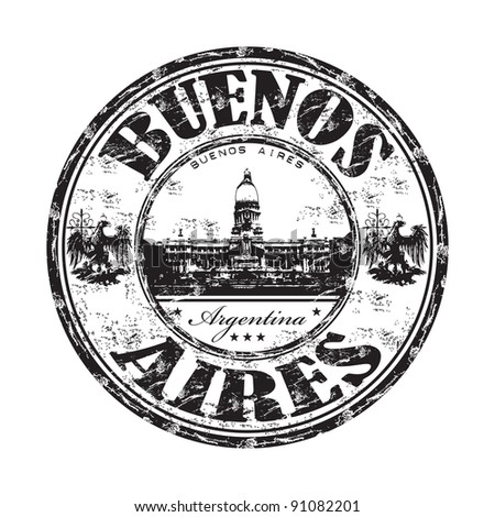 Black grunge rubber stamp with the name of Buenos Aires the capital of Argentina written inside the stamp - stock vector
