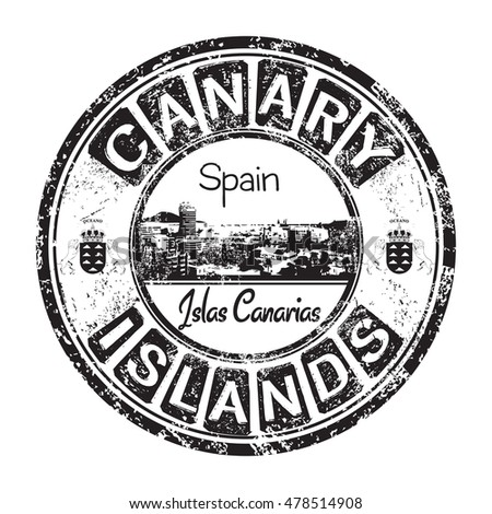 Black grunge rubber stamp with the name of Canary Islands written inside the stamp