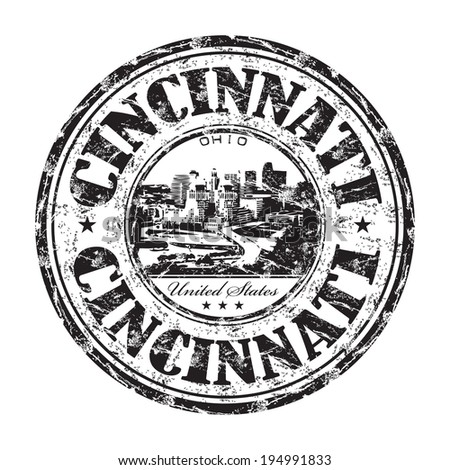 Black grunge rubber stamp with the name of Cincinnati city from United States written inside the stamp