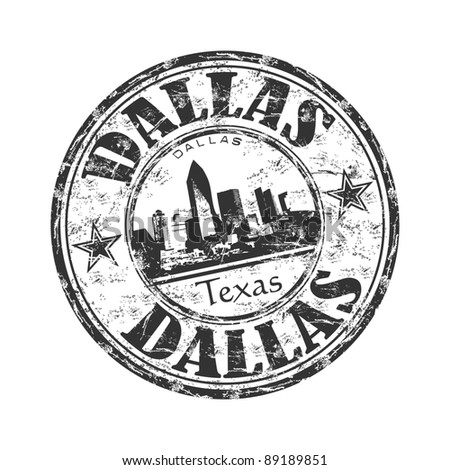 Black grunge rubber stamp with the name of Dallas city the third largest city from Texas, from United States of America