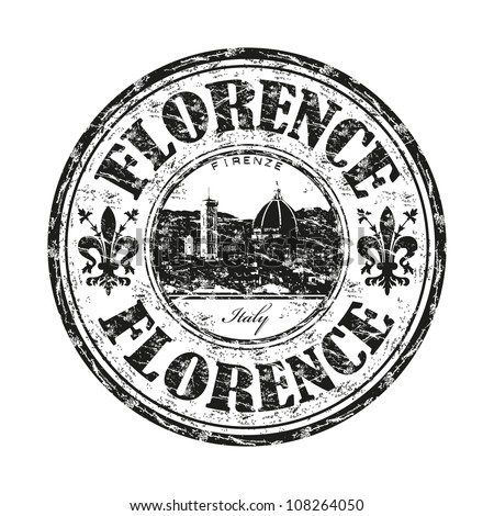 Black grunge rubber stamp with the name of Florence city the capital of the Italian region of Tuscany and of the province of Florence in Italy - stock vector