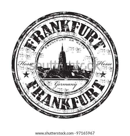 Black grunge rubber stamp with the name of Frankfurt city from the German state of Hesse from Germany - stock vector