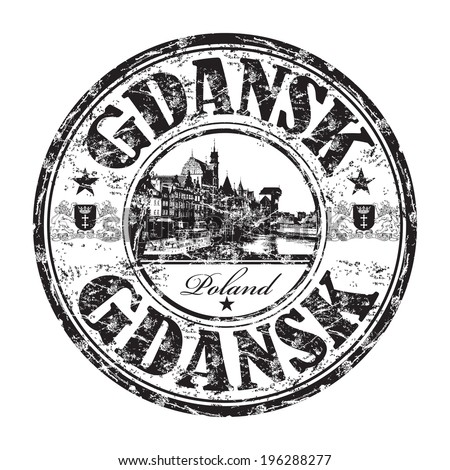 Black grunge rubber stamp with the name of Gdansk city from Poland