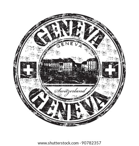 Black grunge rubber stamp with the name of Geneva a city from Switzerland