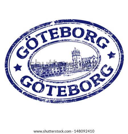 Black grunge rubber stamp with the name of Goteborg the city of Sweeden written inside, vector illustration