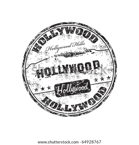 Black grunge rubber stamp with the name of Hollywood written inside the stamp - stock vector