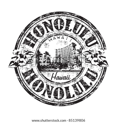 Black grunge rubber stamp with the name of Honolulu city the capital of Hawaii - stock vector