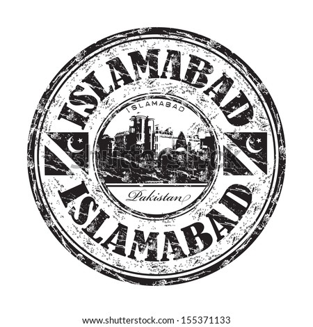 Black grunge rubber stamp with the name of Islamabad the capital of Pakistan
