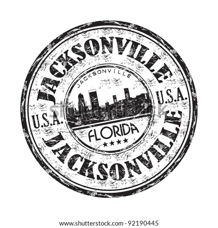 Black grunge rubber stamp with the name of Jacksonville city from Florida state in United States of America - stock vector