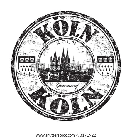 Black grunge rubber stamp with the name of Koln the fourth largest city from Germany written inside the stamp - stock vector