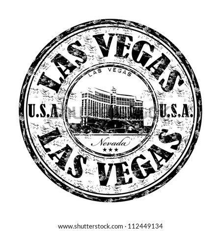 Black grunge rubber stamp with the name of Las Vegas city from Nevada state written inside the stamp - stock vector