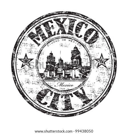 Black grunge rubber stamp with the name of Mexico City, the capital of Mexico written inside the stamp - stock vector