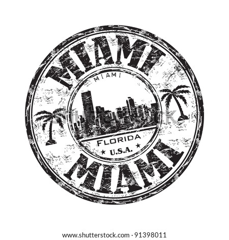 Black grunge rubber stamp with the name of Miami city from southeastern Florida written inside the stamp - stock vector