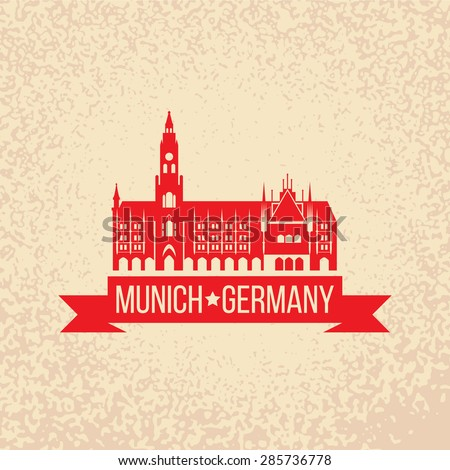 Black grunge rubber stamp with the name of Munich the capital city of Bavaria from Germany - stock vector