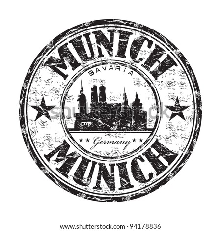 Black grunge rubber stamp with the name of Munich the capital city of Bavaria from Germany