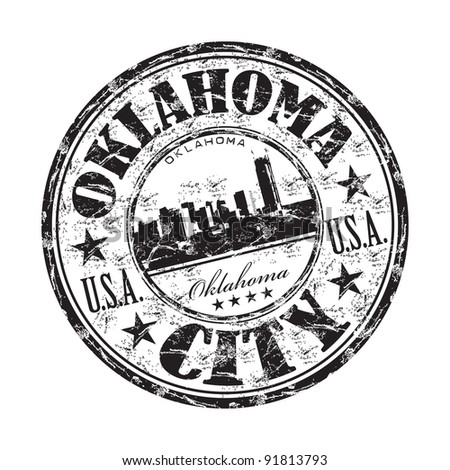 Black grunge rubber stamp with the name of Oklahoma City the capital of Oklahoma state from United States of America