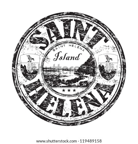 Black grunge rubber stamp with the name of Saint Helena island - stock vector