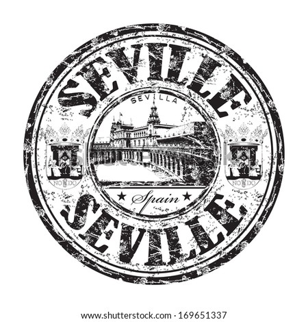 Black grunge rubber stamp with the name of Seville city from Spain written inside the stamp