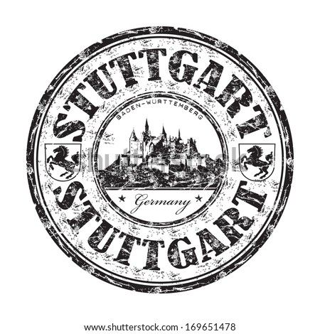 Black grunge rubber stamp with the name of Stuttgart city from Germany written inside the stamp - stock vector