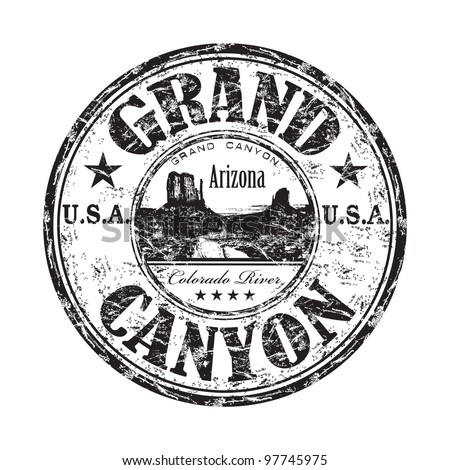 Black grunge rubber stamp with the name of the Grand Canyon from United States of America written inside the stamp - stock vector