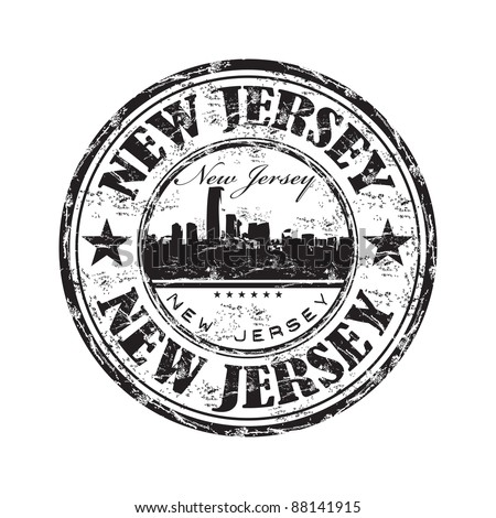 Black grunge rubber stamp with the name of the state of New Jersey written inside the stamp - stock vector