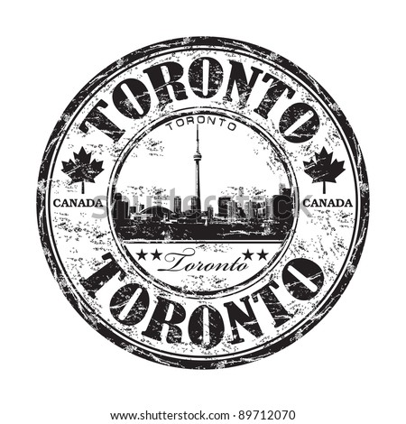 Black grunge rubber stamp with the name of Toronto the capital of Ontario in Canada written inside the stamp - stock vector