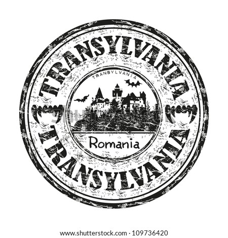 Black grunge rubber stamp with the name of Transylvania, the central part of Romania, written inside the stamp