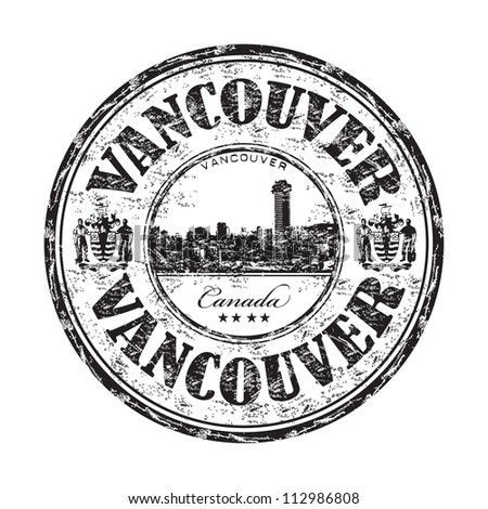 Black grunge rubber stamp with the name of Vancouver, a city on the mainland of British Columbia, Canada - stock vector