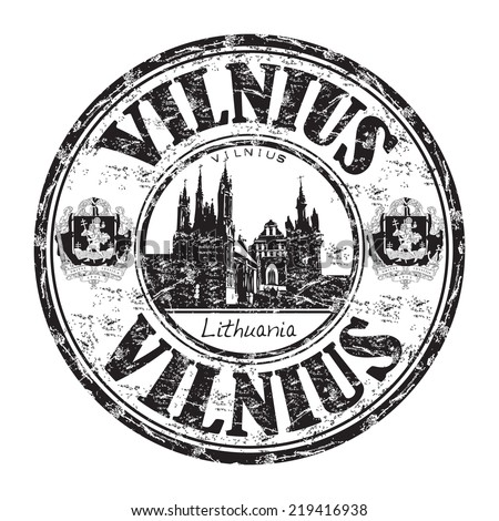 Black grunge rubber stamp with the name of Vilnius city, the capital of Lithuania - stock vector