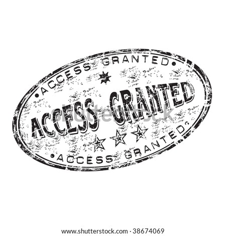 Black grunge rubber stamp with the text access granted written inside the stamp - stock vector