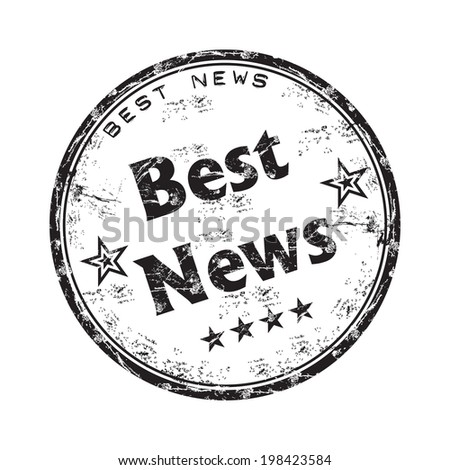 Black grunge rubber stamp with the text best news written inside the stamp - stock vector