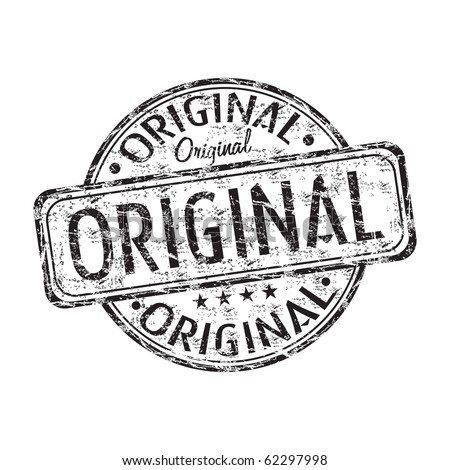 Black grunge rubber stamp with the word original written inside the stamp - stock vector