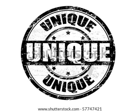 Black grunge rubber stamp with the word unique written inside the stamp - stock vector
