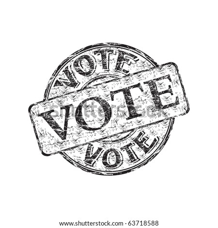 Black grunge rubber stamp with the word vote written inside the stamp