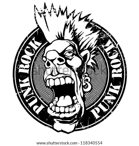 Black grunge rubber stamp with words punk rock written inside the stamp with screaming punk head. scratched version. vector object isolated. - stock vector