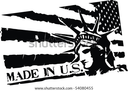 Black Grunge stamp with words Made in US, flag of United States and Statue of Liberty - stock vector