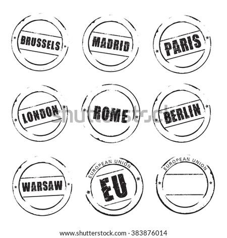 Black grunge stamps, European Cities. Madrid, Paris, London, Rome, Warsaw, Berlin - stock vector