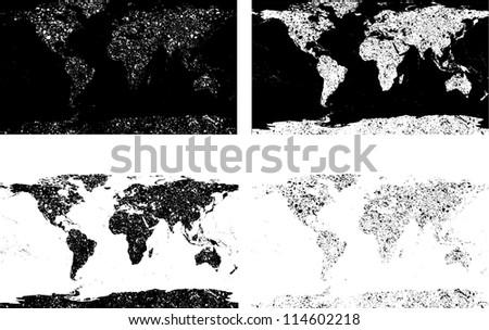 Black grunge world maps - stock vector