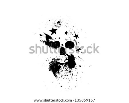 Black Grungy Skull with Stars.