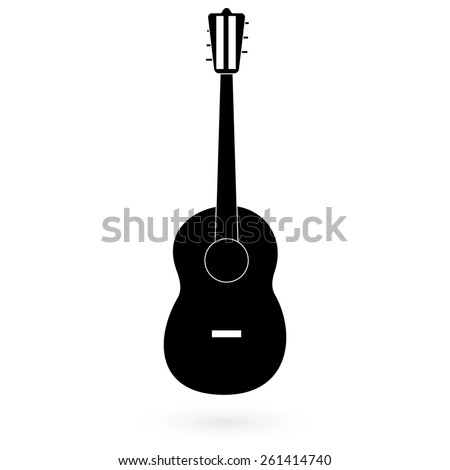 Black guitar icon. Vector.  - stock vector