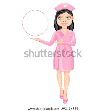Black haired nurse pointing on something by her hands / There is a black haired nurse wearing a pink suit. She stands straight and pointing by her both hands on something on the left  - stock vector
