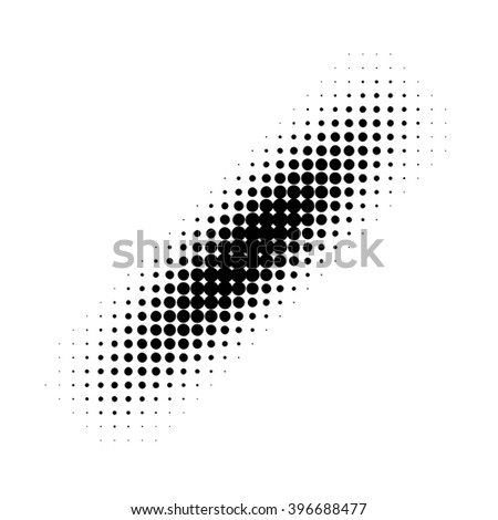Black halftone strip pattern. Vector illustration
