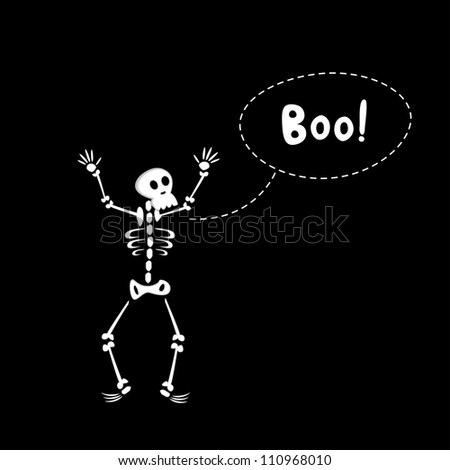 Black halloween card of funny cartoon skeleton. Vector illustration