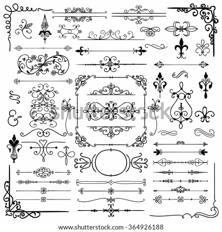 Black Hand Drawn Sketched Decorative Doodle Design Elements. Frames, Text Frames, Dividers, Borders, Corners, Swirls, Scrolls. Vector Illustration - stock vector