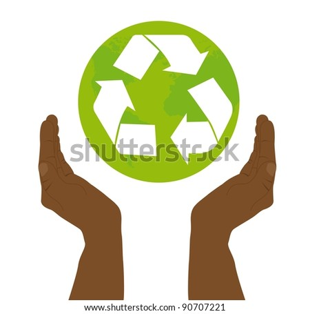 black hand holding recycle sign over white background. vector - stock vector
